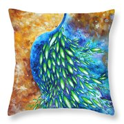 Peacock Abstract Bird Original Painting In Bloom By Madart Throw Pillow