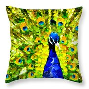 Peacock Abstract Realism Throw Pillow