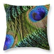 Peacock Eye And Sword Throw Pillow