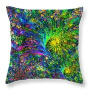 Peacock Feather Abstract Throw Pillow