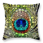 Peacock Feather - Stone Rock'd Art By Sharon Cummings Throw Pillow