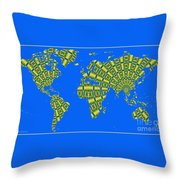 Peacock Feather World Map Throw Pillow