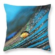 Peacock Gold Throw Pillow