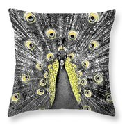 Peacock In Black And White With Selective Color Throw Pillow