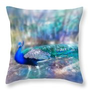 Peacock In The Mist Throw Pillow