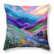 Peacock Magic Throw Pillow by Jane Small
