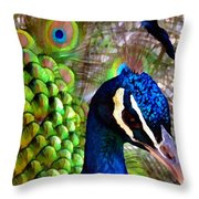 Peacock Pride Revisited Throw Pillow