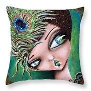 Peacock Princess Throw Pillow