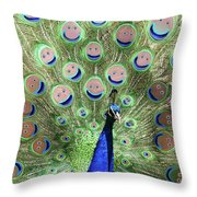 Peacock Smiles Throw Pillow