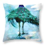 Peacock Walking Away Throw Pillow