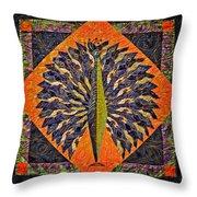 Peacock Yoga  Throw Pillow