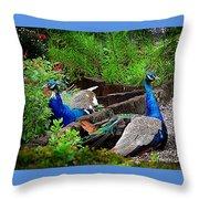 Peacocks In The Garden Throw Pillow