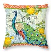 Peacocks In The Rose Garden-3 Throw Pillow