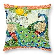 Peacocks In The Rose Garden Throw Pillow