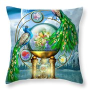 Peacocks Lagoon Throw Pillow