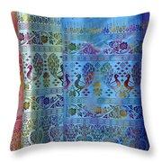 Peacocks On Silk Throw Pillow