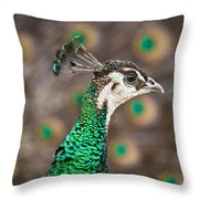 Peahen And Peacock Throw Pillow