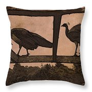 Peahens Throw Pillow
