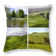 Peak District Collage 01-labelled Throw Pillow
