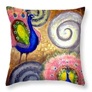 Peacock Swirl Throw Pillow