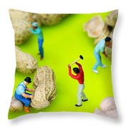Peanut Workers Little People On Food Throw Pillow