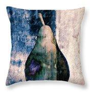 Pear In Blue Throw Pillow