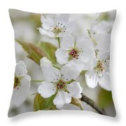 Pear Tree White Flower Blossoms Throw Pillow