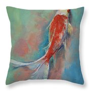 Pearl Banded Koi Throw Pillow by Michael Creese