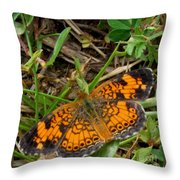 Pearl Crescent Butterfly Throw Pillow