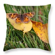 Pearl Crescent Butterfly On Yellow Leaf Throw Pillow