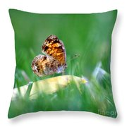 Pearl Crescent Butterfly Square Grass Throw Pillow