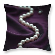 Pearl Necklace On Purple Silk Throw Pillow
