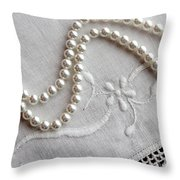 Pearls And Old Linen Throw Pillow by Barbara Griffin
