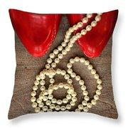 Pearls In Red Shoes Throw Pillow