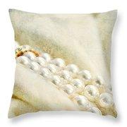 Pearls On White Velvet Throw Pillow