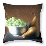 Pears And Grapes Throw Pillow