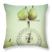 Pears And Kitchen Scale Still Life Throw Pillow