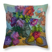 Pears And Roses Throw Pillow