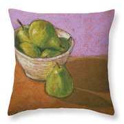 Pears In Bowl Throw Pillow