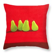 Pears On Red Cloth Throw Pillow
