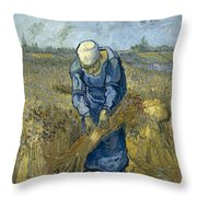 Peasant Woman Binding Sheaves - After Millet Throw Pillow