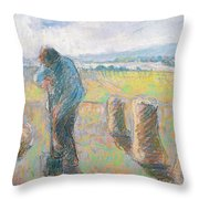 Peasants In The Fields Throw Pillow by Camille Pissarro