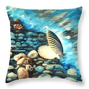 Pebble Beach And Shells Throw Pillow