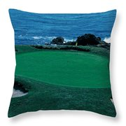 Pebble Beach Golf Course 8th Green Throw Pillow