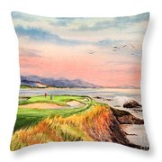Pebble Beach Golf Course Hole 7 Throw Pillow by Bill Holkham