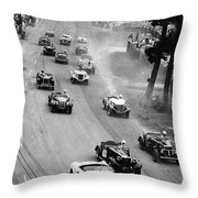 Pebble Beach California Sports Car Races Auto Road Race April 11 1954 Throw Pillow