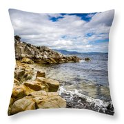 Pebbled Beach Under Dramatic Skies Number Two Throw Pillow