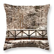 Pedestrian Bridge In The Snow Throw Pillow