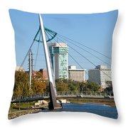 Pedestrian Bridge Over Arkansas River In Wichita Throw Pillow