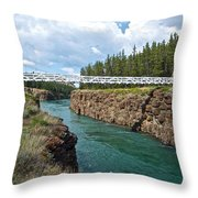 Pedestrian Bridge Over Yukon River In Miles Canyon Near Whitehorse-yk Throw Pillow